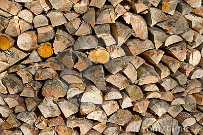 Ends of stacked firewood
