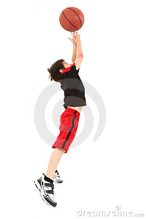 Free Energetic Boy Child Jumping With Basketball Royalty Free Stock Photo - 20069245