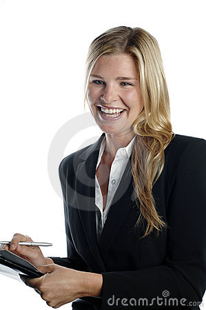 Energetic business woman with notepad