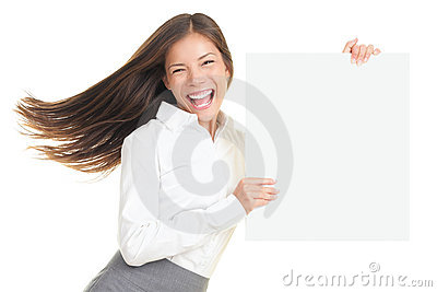 Energetic business woman showing sign