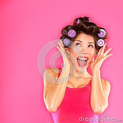 Energetic funny beautiful woman hair style