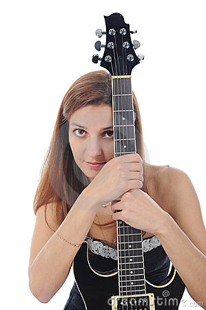 Energetic girl with a black guitar in his hand.