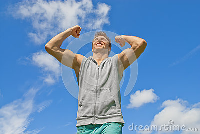 Energetic and happy young man