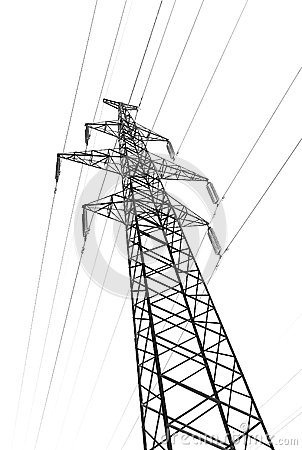 Pylon tower power line isolated white