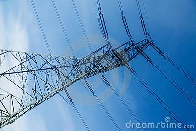 Energetic pylon over sky