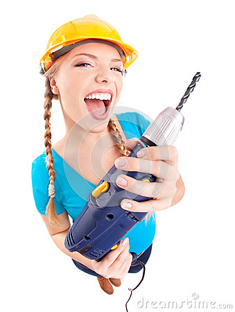 Free Energetic Woman With Drill Stock Photos - 28594643