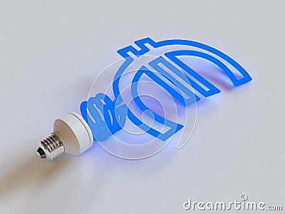 Energiesparende Lampe in der Form des Euro