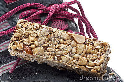 Energy Bar and Sneaker Shoe Sports Concept