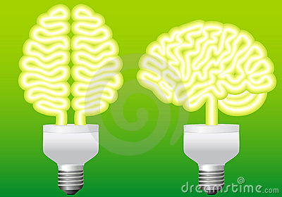 Energy bulb brain, vector