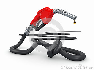 Energy crisis. Gas pump nozzle tied in a knot.