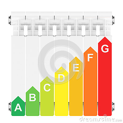 Energy efficiency rating on heating radiator.
