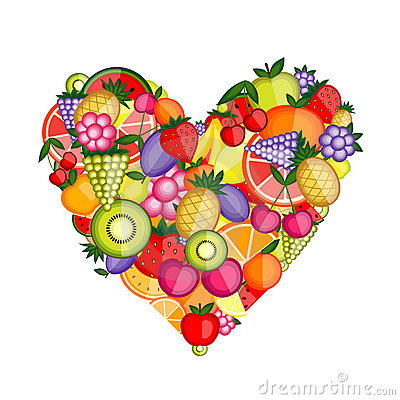 Energy fruit heart shape