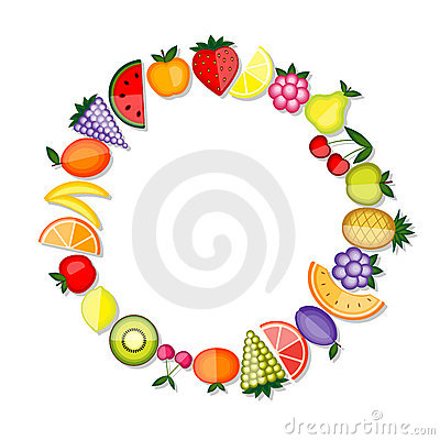 Energy fruits. Vector frame for your design
