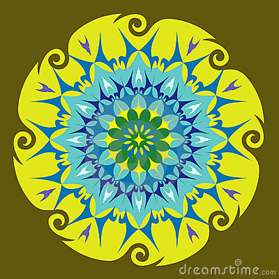Energy Mandala in Green Colors
