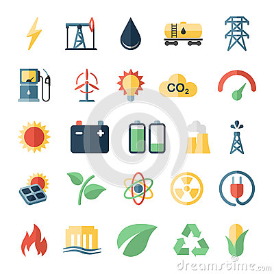 Free Energy Power Flat Icons Set Of Solar Panels Wind Stock Photography - 52181742