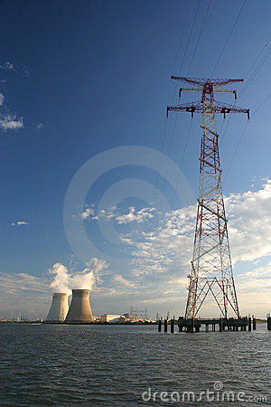Free Energy Pylon With Nulcear Power Plant Royalty Free Stock Images - 1225259