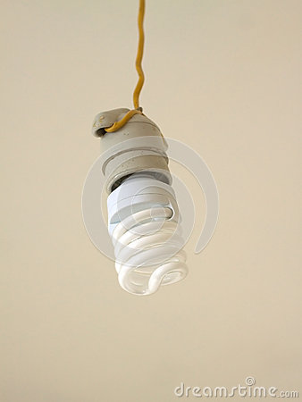 Energy saving bulb hangs closeup