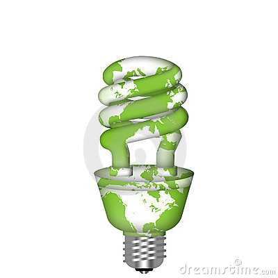 Energy Saving Eco Lightbulb with World Map