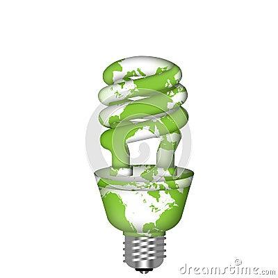Energy Saving Eco Lightbulb with World Map