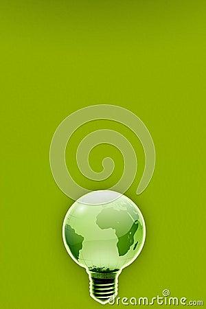 Energy saving ecologic friendly light bulb earth