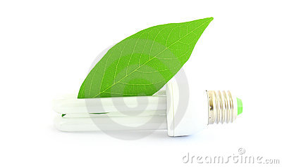 Energy saving lamp with green leaf on white