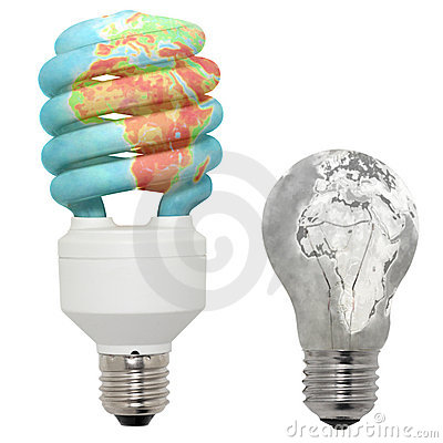 Energy saving lamp and normal lamp.