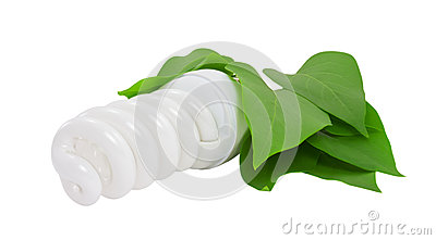 Energy saving light bulb with leaves