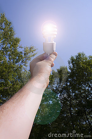 Energy saving light bulb on outside