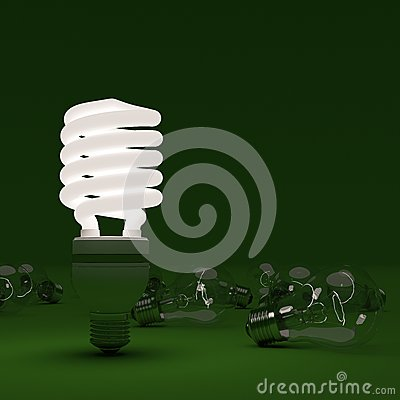 Energy saving and light bulbs on green background
