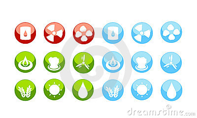 Energy sources icon set by danger