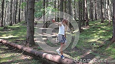Enfant en Forest Walking Tree Log Kid jouant le bois extérieur campant de fille d'aventure banque de vidéos