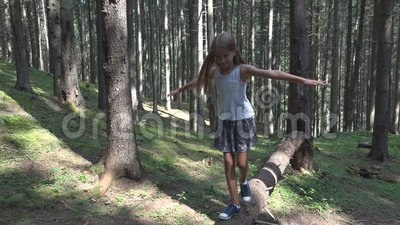 Enfant en Forest Walking Tree Log Kid jouant le bois ext?rieur campant de fille d'aventure banque de vidéos