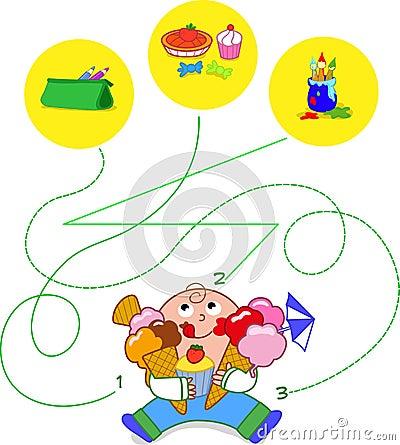 Enfant mangeant des bonbons - jeu