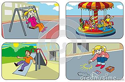 Enfants dans une cour de jeu
