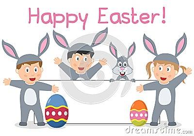 Enfants et drapeau de lapin de Pâques