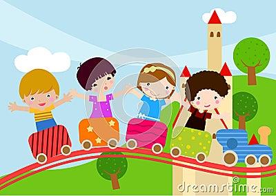 Enfants sur le train