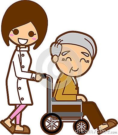 Enfermeiras e homens idosos