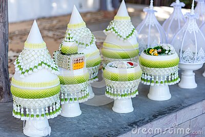 Engagement bowl for Thai engagement ceremony. bride price set, Stock Photo