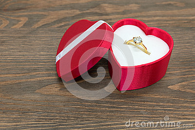 Engagement ring in heart shaped box