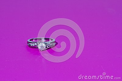Engagement Ring on pink