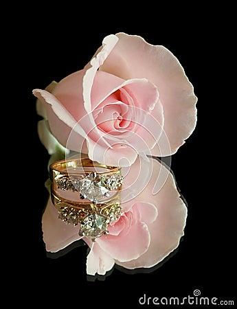 Free Engagement Ring Rose On Black Stock Image - 6137631