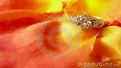 Engagement Ring on Rose Petals