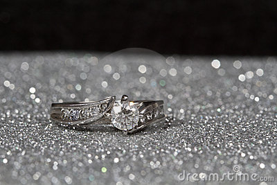 Engagement Ring on silver