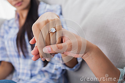 Engagement ring on womans hand