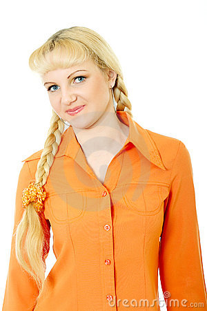 Engaging girl in orange clothes