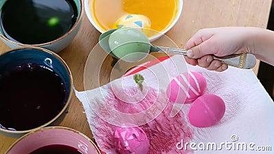 Enge Händchen mit Färbung von Ostereiern mit Ei-Färbung Farbige Ostereier stock video footage