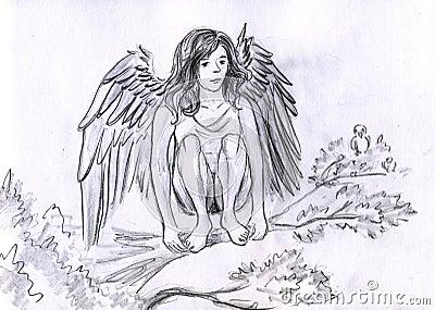 Engel auf dem Zweig