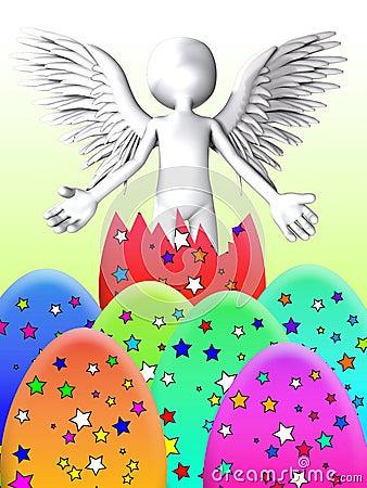 De engel breekt van Paasei uit