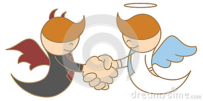 Engel en duivel het schudden hand