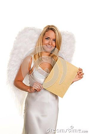 Engel für Weihnachten mit einem leeren Antragzeichen.